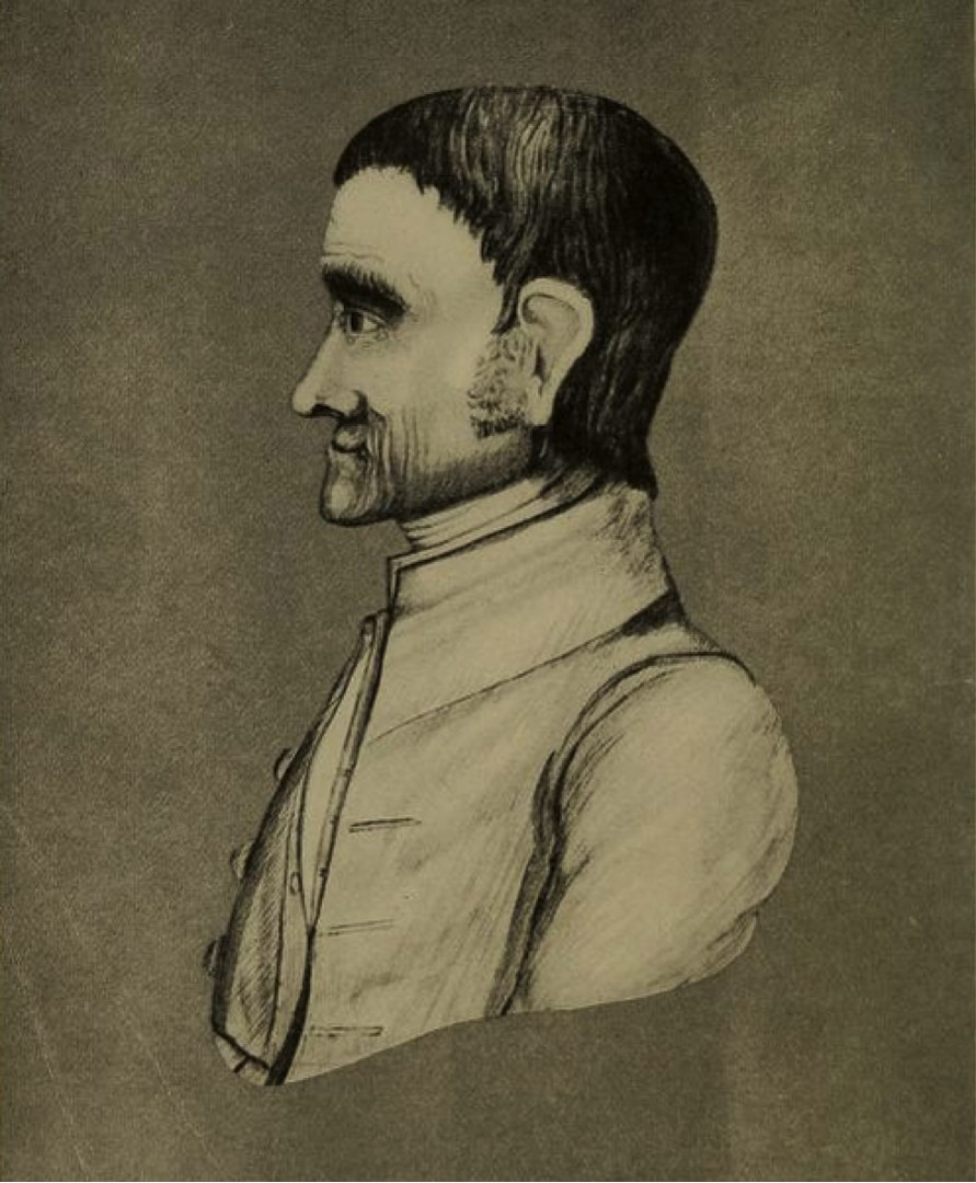 Drawing of John Holman, sideview