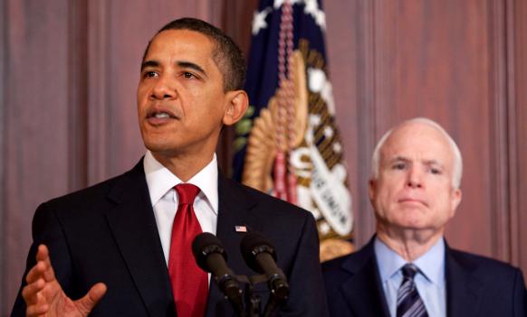 President Barack Obama and Senator John McCain • By Pete Souza • WikiCommons