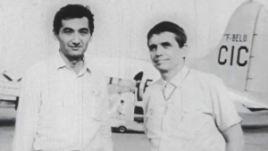 "Howard Zinn and Daniel Berrigan in Hanoi. Image from ""Hit & Stay: A History of Faith and Resistance."""