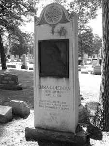 Goldman's grave in Illinois' Forest Home Cemetery, near those of the anarchists executed for the Haymarket Affair.