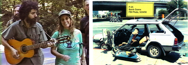 Micharl Cherney and Judi Bari; police photo of bombed car. Images: WhoBombedJudiBari.com