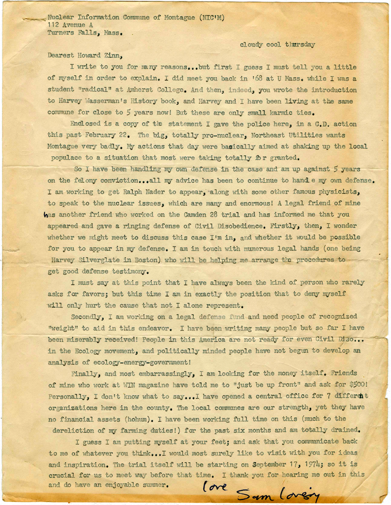 Sam Lovejoy letter to Howard Zinn, 1974 | HowardZinn.org