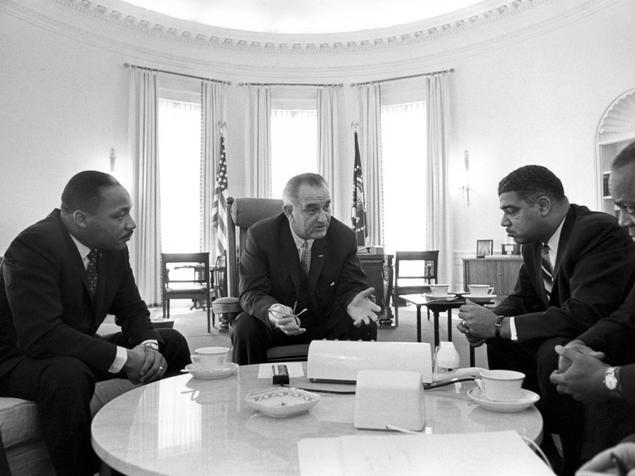 President Johnson with Young and King. Source: National Urban League.