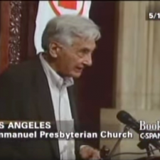 screenshot of Howard Zinn speaking at podium