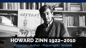 Graphic of Howard Zinn in his office